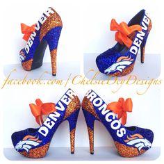 Denver Broncos Glitter High Heels by ChelsieDeyDesigns on Etsy Broncos Gear, Denver Broncos Football, Go Broncos, Broncos Fans, Crazy Shoes, Me Too Shoes, Glitter High Heels, Peyton Manning, Orange Crush
