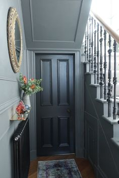 Stair and hall makeover reveal, dark grey walls, iron balustrade, black doors, brass accessories on www. Attic Renovation, Attic Remodel, Victorian Hallway, Dark Grey Walls, Dark Grey Hallway, Flur Design, Hallway Designs, Hallway Ideas, Painted Stairs