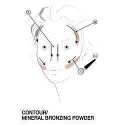 Using the narrow surface of the brush, sweep brush under cheekbones (1), down sides of nose (2), and around temples (3).