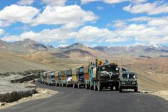 Indian army convoy high up in the Himalayas