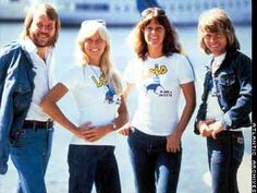 ABBA makes promotion for Jeans manufacturer Lois, 1975 in Stockholm