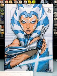 Star Wars: Ashoka Tano by Artgerm Star Wars Meme, Star Wars Fan Art, Star Wars Clone Wars, Star Wars Comic, Star Wars Manga, Images Star Wars, Star Wars Pictures, Star Wars Characters, Female Characters