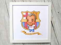 ameba verde: Custom Watercolor Portrait. Artwork. Chibi Cartoon style. Cute. Fun. FC Barcelona fan. Birthday gift.