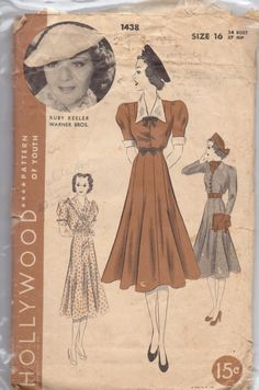 Vintage Hollywood pattern #1438. Ruby Keeler Warner Brothers Size 16 dress 10 gore skirt.