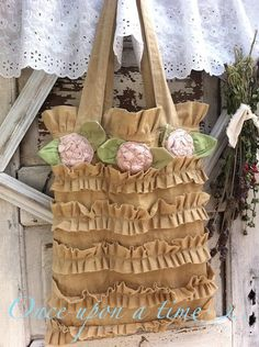 Romantic Bella Bag Dyed Aged Cotton Pink Flowers by CamillaCotton, $74.00
