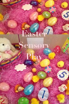 Add a bunch of Easter stuff to sensory bin and play away. Useful for a cold and wet Easter! Adventures with Isla-Brae