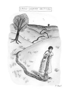 Cross-Country Knitting - New Yorker Cartoon Premium Giclee Print