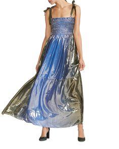 Cynthia Rowley Jade Smocked LamÉ Dress In Blue Fashion 2020, Luxury Fashion, Cynthia Rowley, Smocking, Tie Dye Skirt, Blue Dresses, Jade, Bodice, Silk