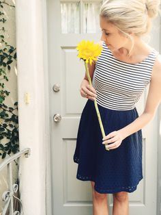 LC Lauren Conrad for Kohl's Striped Tank Dress in Navy Blue