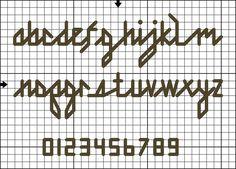 back stitch alphabet charts | Lowercase Back Stitch Alphabet Design © Connie G. Barwick , licensed ...