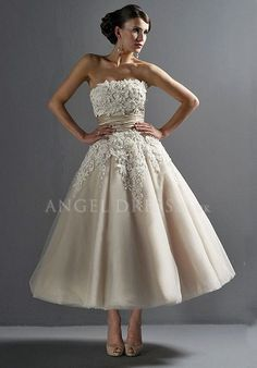 Strapless Princess Tulle Empire Ankle Length With Lace Wedding Dress