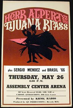 1966 Herb Alpert And The Tijuana Brass With Sergio Mendez Tulsa Concert Poster
