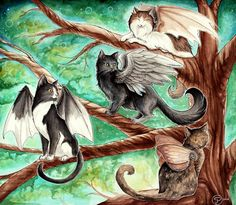 """""""The Gathering Tree"""" is part of an art trade for of her four beautiful cats! The Gathering Tree I Love Cats, Crazy Cats, Cute Cats, Fantasy Creatures, Mythical Creatures, Frida Art, Image Chat, Rainbow Bridge, Cat Drawing"""