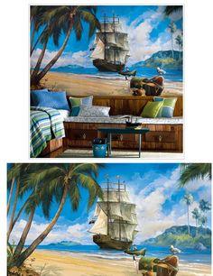 Pirate Ship XL Wall Mural - Kids Wall Decor Store
