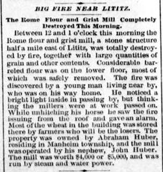 Genealogical Gems: On This Day: Fire destroys Lititz mill