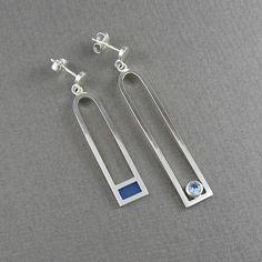 Asymmetrische oorbellen lange zilveren oorbellen door MissSilver, €45,00