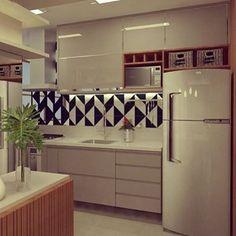 """1,830 curtidas, 20 comentários - Meu novo Apê (@meunovoape) no Instagram: """"Cozinha com armários claros e detalhes amadeirados no local. Destaque para o ladrilho geométrico…"""""""