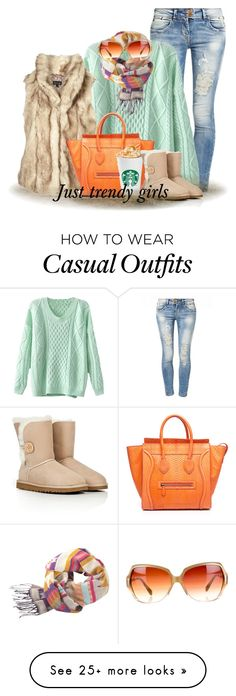 """casual fall look"" by justtrendygirls on Polyvore featuring LTB by Little Big, CÉLINE, UGG Australia and Oliver Peoples"