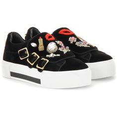 Alexander McQueen Embellished Velvet Sneakers ( 1 d874faa0f31