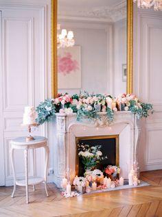 Romantic + floral covered Parisian wedding decor: http://www.stylemepretty.com/little-black-book-blog/2015/12/07/intimate-delicate-parisian-elopement/ | Photography: Le Secret d'Audrey: http://www.lesecretdaudrey.com/