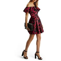 Women's Topshop Floral Print Ruffle Off The Shoulder Fit & Flare Dress…