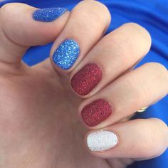 Blue, Red, White Glitter Nails ★ Use these of July nails ideas to be patriotic from head to toes. Guests at your party will be amazed. Our photo gallery has suggestions for everyone. White Glitter Nails, Sparkly Nails, Blue Nails, American Flag Nails, 4th Of July Nails, Holographic Nail Polish, Nagel Gel, Perfect Nails, Holiday Nails