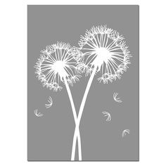 SALE - Dandelions - 5x7 Floral Print - Gray and White - Modern Nursery Art