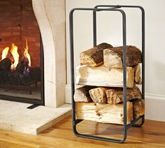 Shop Pottery Barn for fireplace holders and racks. Enjoy the warmth of the season with expertly crafted fireplace accessories and create a cozy room. Industrial Fireplaces, Classic Fireplace, Firewood Storage, Firewood Rack, Log Holder, Fireplace Hearth, Fireplace Accessories, Living Room Interior, New Furniture