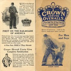 Crown Overalls Railroad Official Time Book (Inside), The Crown Overall Manufacturing Company in Cincinnati, Ohio. 1930-1931