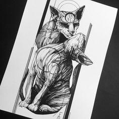 ideas tattoo cat traditional style for 2019 Sketch Style Tattoos, Tattoo Sketches, Tattoo Drawings, Time Tattoos, Body Art Tattoos, Trendy Tattoos, Unique Tattoos, Sphinx Tattoo, Sphynx Cat Tattoo