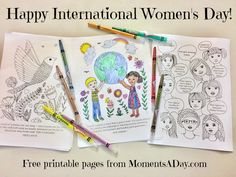 Free colouring pages for International Women's Day plus activity suggestions for home or classroom