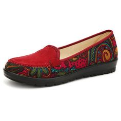 Hot-sale Dargon Flower Print Flax Open Heel Color Match National Wind Slip  On Flat 57961c93d51e