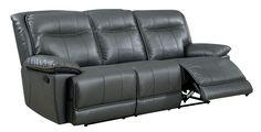 Furniture of America Fulton Gray Faux Leather Reclining Sofa