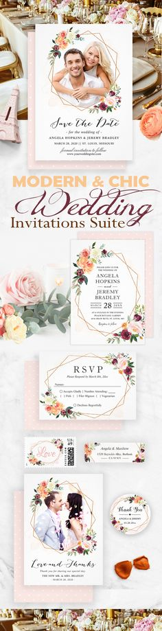 The geometric theme is one of the hottest wedding trends that will hit 2018. We especially love this Modern Geometric Bloom Floral Invitation Suite!