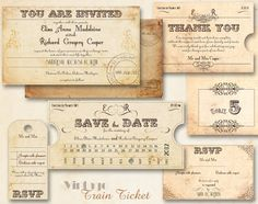 "Vintage wedding invitation template - so cool! Probably out of the budget but so cool! Love the ""tickets"""
