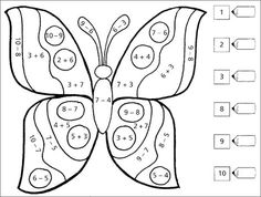 Butterfly addition or subtraction color by number worksheet Kindergarten Math Worksheets, School Worksheets, Preschool Math, Math For Kids, Fun Math, Math Games, School Age Activities, Preschool Activities, Montessori Math