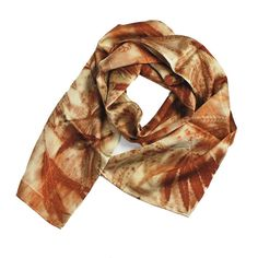 "Leaf Print Silk Scarf 32, shiny charmeuse, 8"" x 50"""