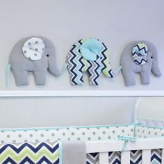 There's an elephant parade in the nursery! Elephant Parade, Grey Elephant, Navy Walls, Baby Nursery Decor, Beautiful Babies, Decorative Items, Baby Love, Wall Decor, Wall Art