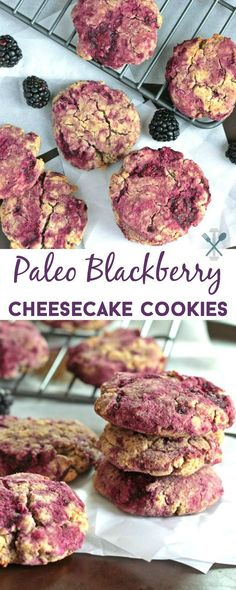 These paleo blackberry cheesecake cookies are delicious and dairy free! You won't believe how easy it is to make these sweet treats with an almond 'cheese' that takes just a few minutes! Plus no glute (Cheese Snacks Dairy Free) Paleo Dessert, Paleo Sweets, Gluten Free Desserts, Healthy Desserts, Diet Desserts, Paleo Cookies, Cheesecake Cookies, Paleo Cheesecake, Delicious Cookies