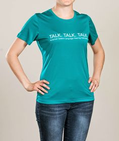 The message of this sporty teal shirt is clear: talk, talk, talk! The moisture-wicking technology keeps you cool and dry, while the lightweight, flexible material moves with you. Keep the conversation going in this ultra-comfy tee. - See more at: http://www.asha.org/eWeb/OLSDynamicPage.aspx?Webcode=olsdetails&title=Talk+Talk+Talk+T-Shirt&utm_source=ASHA&utm_medium=Pinterest&utm_campaign=Merch#sthash.FaMGHSPv.dpuf