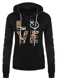 Women Casual Love Print Fleece Hoodie Drawstring Hooded Sweatshirt L Black >>> To view further for this item, visit the image link.  This link participates in Amazon Service LLC Associates Program, a program designed to let participant earn advertising fees by advertising and linking to Amazon.com.