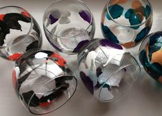 Paint blown mixer glasses in a range of by DragonflyArtDesign1
