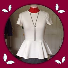 [F21] White Peplum Top S Gorgeous white peplum style top by Forever 21 in gently used condition! Size S. Color is off white. Looks beautiful under a blazer with or without a belt! This is made of 100% polyester and is thicker material with stretch. Features a gold back zipper that hits mid back with hook closure for easy on/off. From a smoke and pet free home! Forever 21 Tops Blouses