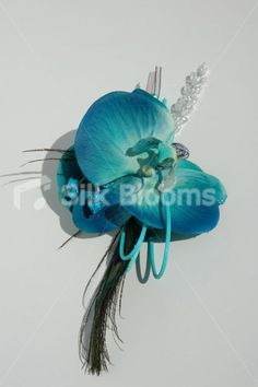 Blue Boutonniere | Blue Orchid and Peacock Feather Corsage Jade Green and Galaxy Blue ...