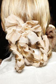 braid with a ribbon.