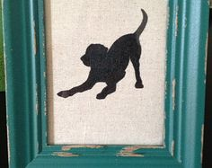 Framed Black Lab Dog Silhouette-Custom-Choose your breed, colors and frame! Labrador-Retreiver-Sitting, Standing & Playful