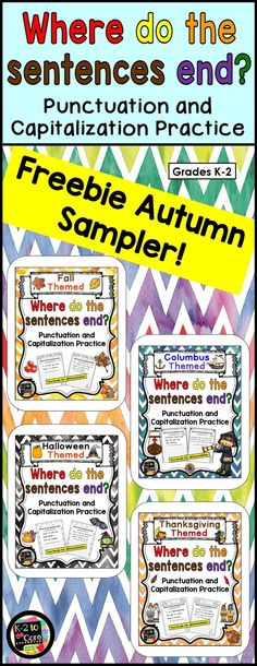 """FREE sample pages from my 4 autumn-themed """"Where do the sentences end?"""" products:  Fall, Columbus Day, Halloween, and Thanksgiving. Provide your students with capitalization and punctuation practice with these differentiated editing and writing practice sheets. Each page has 1, 2, or 3 holiday-themed sentences with missing capitals and punctuation. Your students' job is to figure out where the sentences end, edit the sentences, and then rewrite them with correct capitalization and…"""