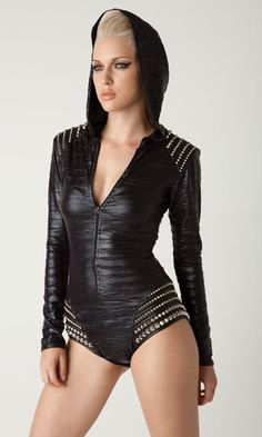 Hooded trashbag romper bodysuit with leather by laroxxhollywood, $289.00