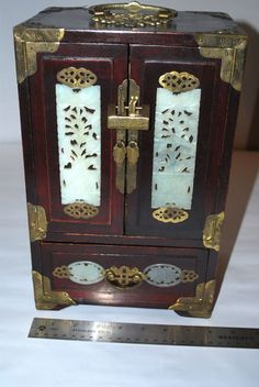 Antique Chinese Golden dragon jewelry box with scripted lid