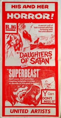 Daughters Of Satan & Superbeast original 1972 New Zealand Daybill poster for this horror double bill. Available for purchase from our website.